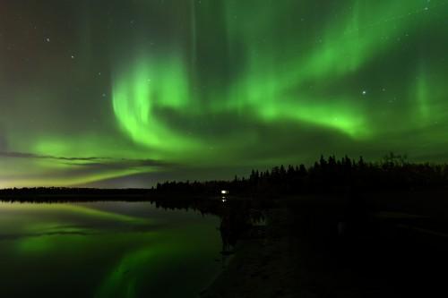 Northern Lights Above Astotin Lake Elk Island National