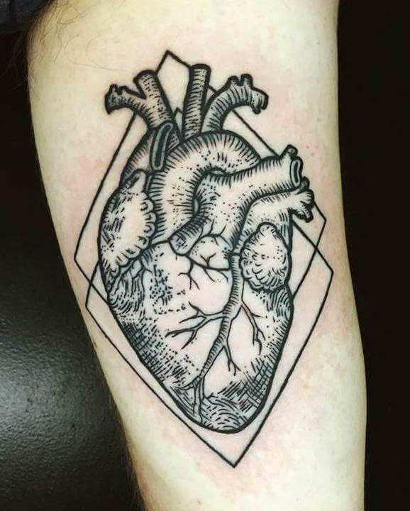 Anatomical heart tattoo done by tiffany at honest to for Grand rapids mi tattoo