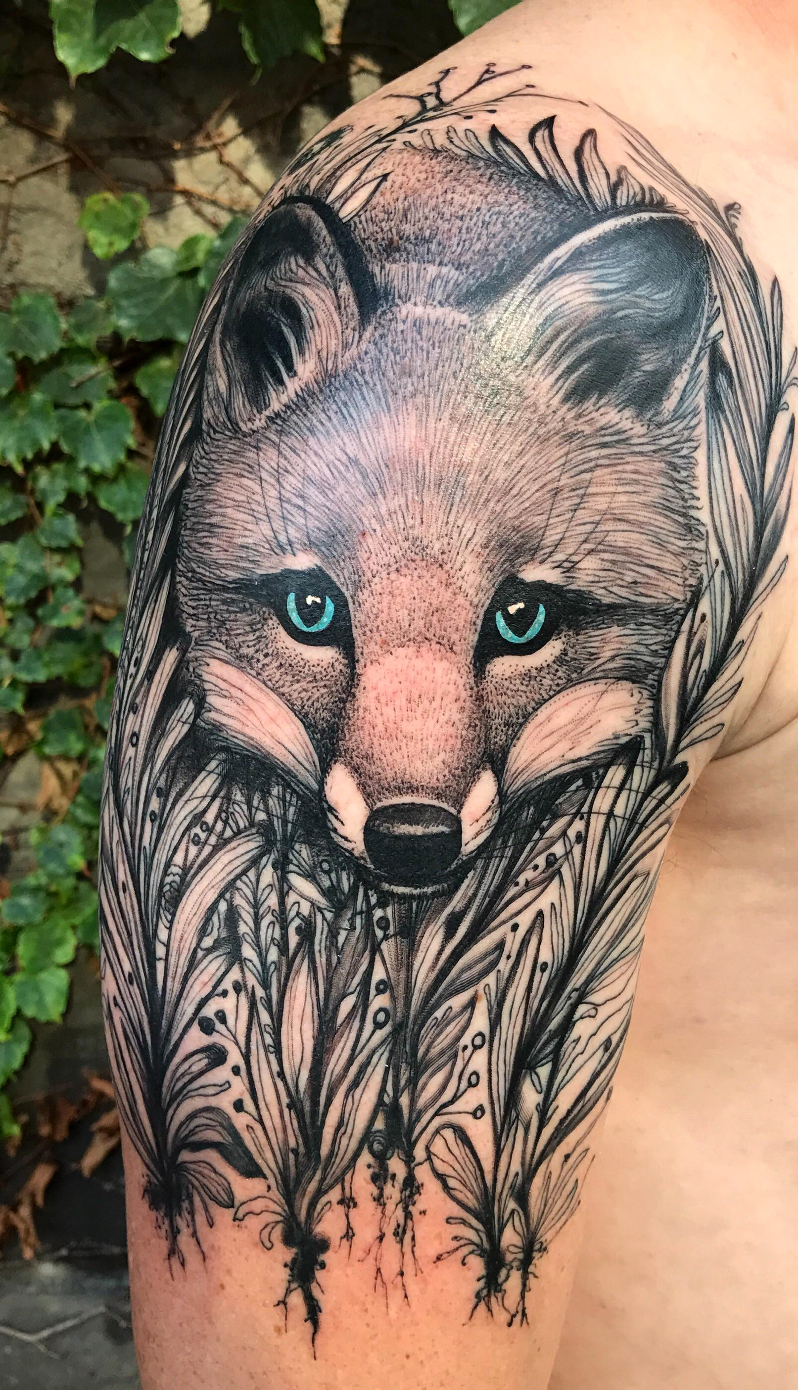 A fox in the ferns. Tattoo by Dino Nemec at Lone Wolf studio in ...