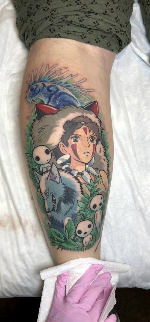 Princess mononoke tattoo by kim at a black rabbit tattoo for Tattoos richmond va