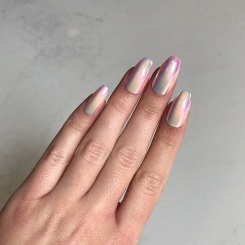 Get these uniquely designed Holographic Peach Coffin Nails with 20% off at Static Nails. These nails will give you a perfect, non-damaging manicure in seconds for a fraction of the salon cost.